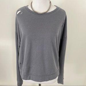 Trendy Distressed Detail Soft Sweatshirt